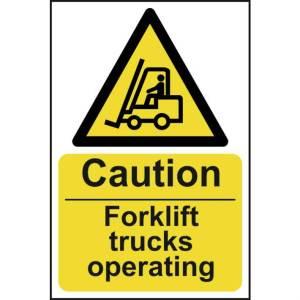 Caution Fork Lift Trucks Operating Sign - SAV (400 x 600mm)