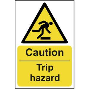 Caution Trip Hazard - Self Adhesive Sticky Sign (200 x 300mm)