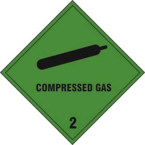 Compressed gas Class 2 - Self Adhesive Sticky Sign (100 x 100mm)