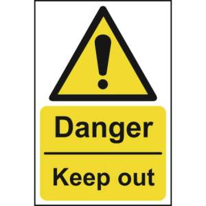 Danger Keep Out - Self Adhesive Sticky Sign (200 x 300mm)