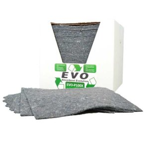 EVO Recycled Absorbent Spill Pads - pack of 100, poly-wrapped