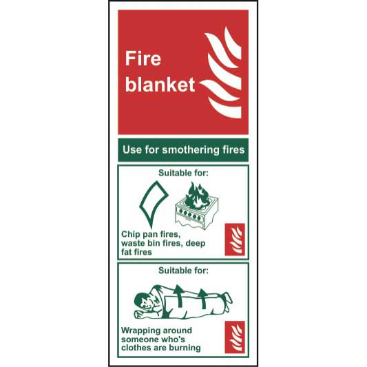 Fire Blanket Instructions - Self Adhesive Sticky Sign (82 x 202mm)