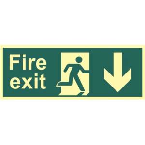 Fire Exit Man and Arrow Down Sign - PHS (400 x 150mm)
