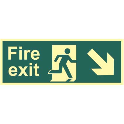 Fire Exit Man and Arrow Down/Right Sign - PHO (400 x 150mm)