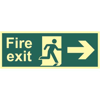 Fire Exit Man and Arrow Right Sign - PHS (400 x 150mm)