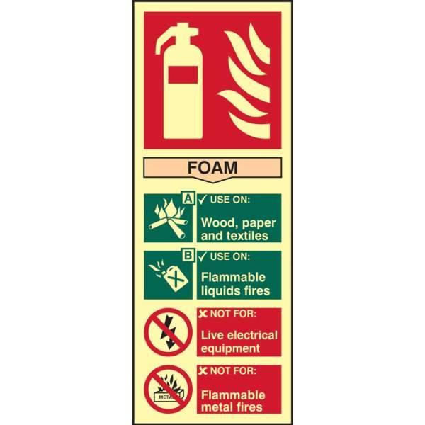Fire Extinguisher: Foam Sign - PHS (82mm x 202mm)