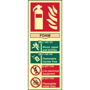 Fire Extinguisher: Foam Sign - PHS (82mm x 202mm)