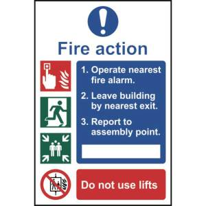 Fire action procedure - Self Adhesive Sticky Sign (200 x 300mm)