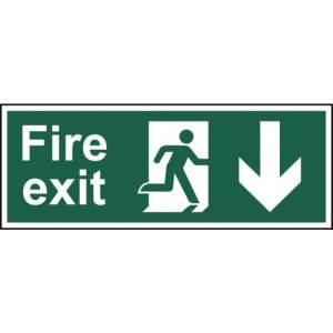 Fire exit (Man arrow down) - Sign - PVC (400 x 150mm)