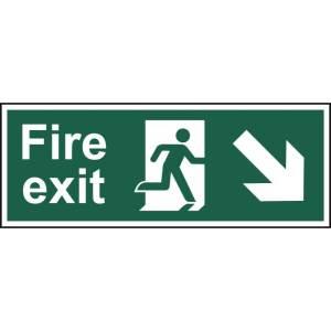 Fire exit (Man arrow down/right) - Sign - PVC (400 x 150mm)