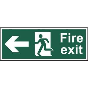 Fire exit (Man arrow left) - Sign - PVC (400 x 150mm)