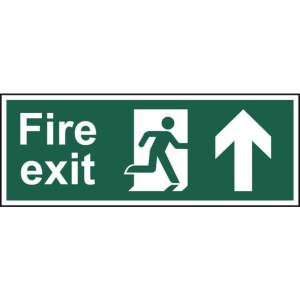 Fire exit (Man arrow up) - Self Adhesive Sticky Sign (400 x 150mm)