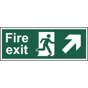 Fire exit (Man arrow up/right) - Self Adhesive Sign 400 x 150mm