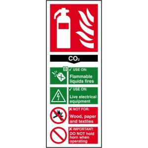Fire extinguisher: CO2 - Sign - PVC (82 x 202mm)