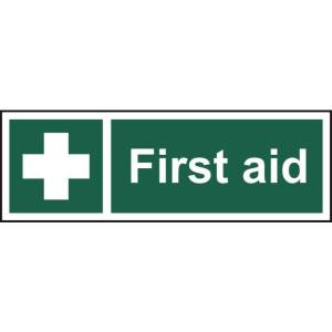 First Aid Sign - Self Adhesive Sticky Sign (300 x 100mm)