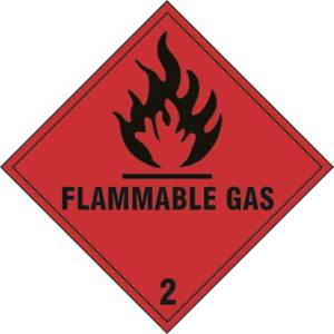 Flammable gas Class 2 - Self Adhesive Sticky Sign (100 x 100mm)