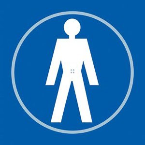 Gentlemans Toilet Blue Braille Sign