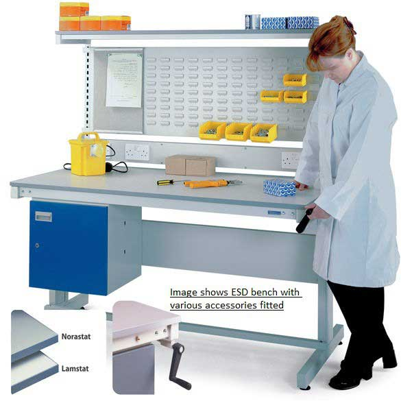 Height Adjustable ESD Workbench with Lamstat Top 1500w x 600d