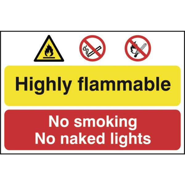 Highly flammable / No smoking or naked lights -Sign PVC (600 x 400mm)