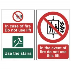 In the event of fire do not use this lift-Self Adhesive Sign 200x300mm