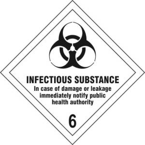 Infectious Substance 6 - Self Adhesive Sign Diamond 200 x 200mm