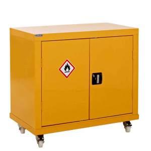 Mobile Hazardous Storage Cabinet 1040h x 900w x 460d 2 door 1 shelf - yellow