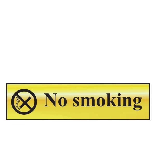 No Smoking Sign - Polished Chrome Effect (200 x 50mm)