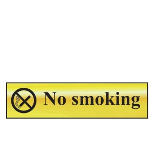 No Smoking Sign - Polished Chrome Effect (200 x 50mm)