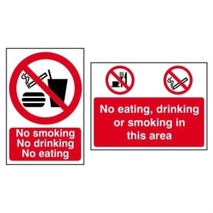 No smoking No drinking No eating -Sign PVC (200 x 300mm)