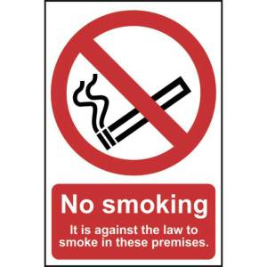 No smoking it is against the law to smoke Sign - PVC 200x300mm