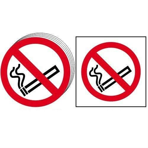 No smoking symbol - Self Adhesive Sticky Sign (50mm dia.) (Pack of 10)