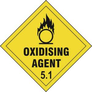 Oxidising Agent 5.1 - Self Adhesive Sticky Sign Diamond (200 x 200mm)