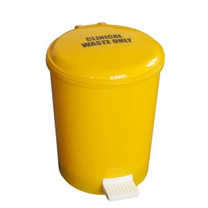 Pack of 6x 12 Litre Yellow Pedal Bins with lift out liners