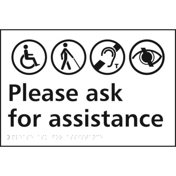 Please Ask For Assistance Braille Sign