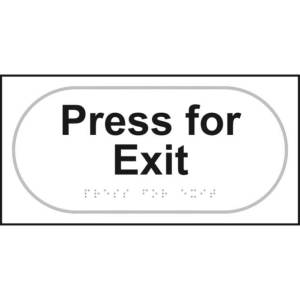 Press For Exit Braille Sign