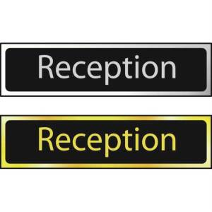 Reception Sign - Polished Gold Effect (200 x 50mm)