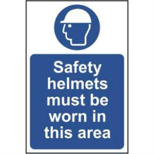 Safety Helmets Must Be Worn In This Area Sign - RPVC (400 x 600mm)