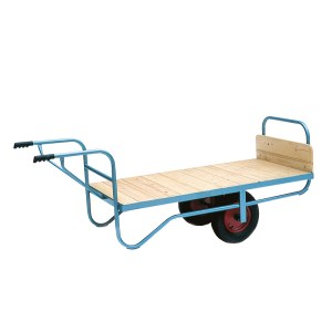 Single Handle Flatbed Balance Trolley - Rubber Tyres, 915W x 1905D