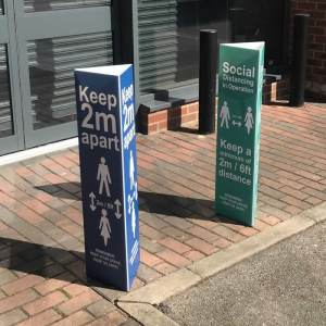 Social Distancing in Operation Post/Bollard Sleeve Sign 100mm Post