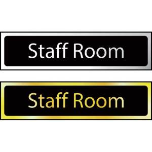 Staff Room Sign - Polished Chrome Effect (200 x 50mm)