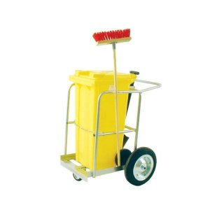 Street Cleaning Barrow with 120L Red Wheelie Bin, Brush And Shovel