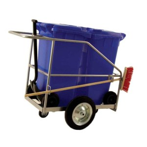 Street Cleaning Barrow with 2 x 120L Green Wheelie Bins, Brush And Shovel