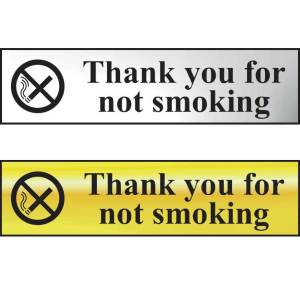 Thank You For Not Smoking Sign - CHR (200 x 50mm)