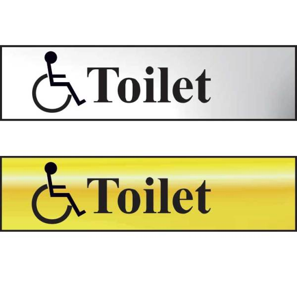 Toilet (With Disabled Symbol) Sign - CHR (200 x 50mm)