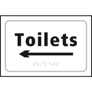 Toilets Braille Sign With Left Arrow