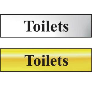 Toilets Sign - Chrome (200 x 50mm)