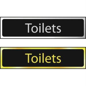 Toilets Sign - Polished Gold Effect (200 x 50mm)