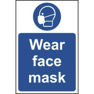 Wear Face Mask Sign - Self Adhesive Vinyl (400 x 600mm)