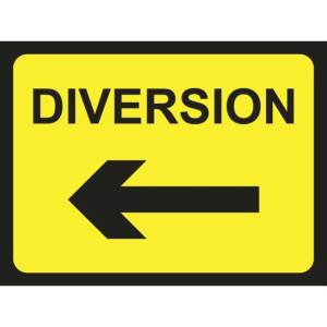 Zintec 1050 x 750mm Diversion Arrow Left Road Sign with Relevant Frame