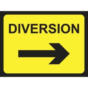 Zintec 1050 x 750mm Diversion Arrow Right Road Sign (no frame)